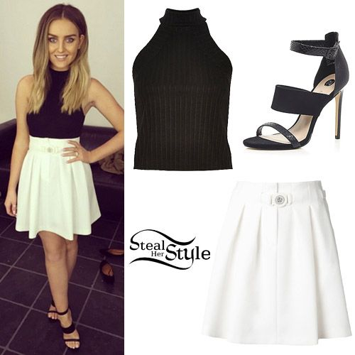5c6db5aec096 Perrie Edwards posted a picture two days ago wearing a River Island Black  Ribbed High Neck Top ($40.00), the Kenzo Pleated Skirt ($588.00) and a pair  of ...