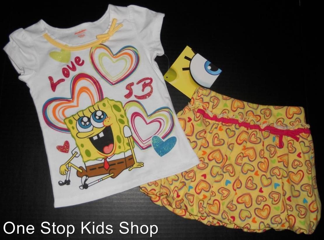 a754ddbb34a Spongebob Toddler Girls 2T 3T 4T 5T Set Outfit Shirt Skirt Skort Shorts