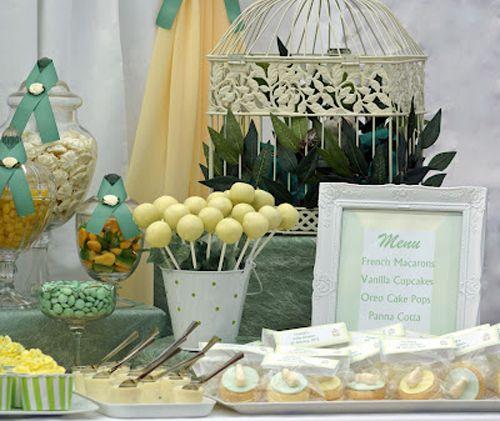 Lemon Yellow Sage Green White Gender Neutral Elegant Baby Shower