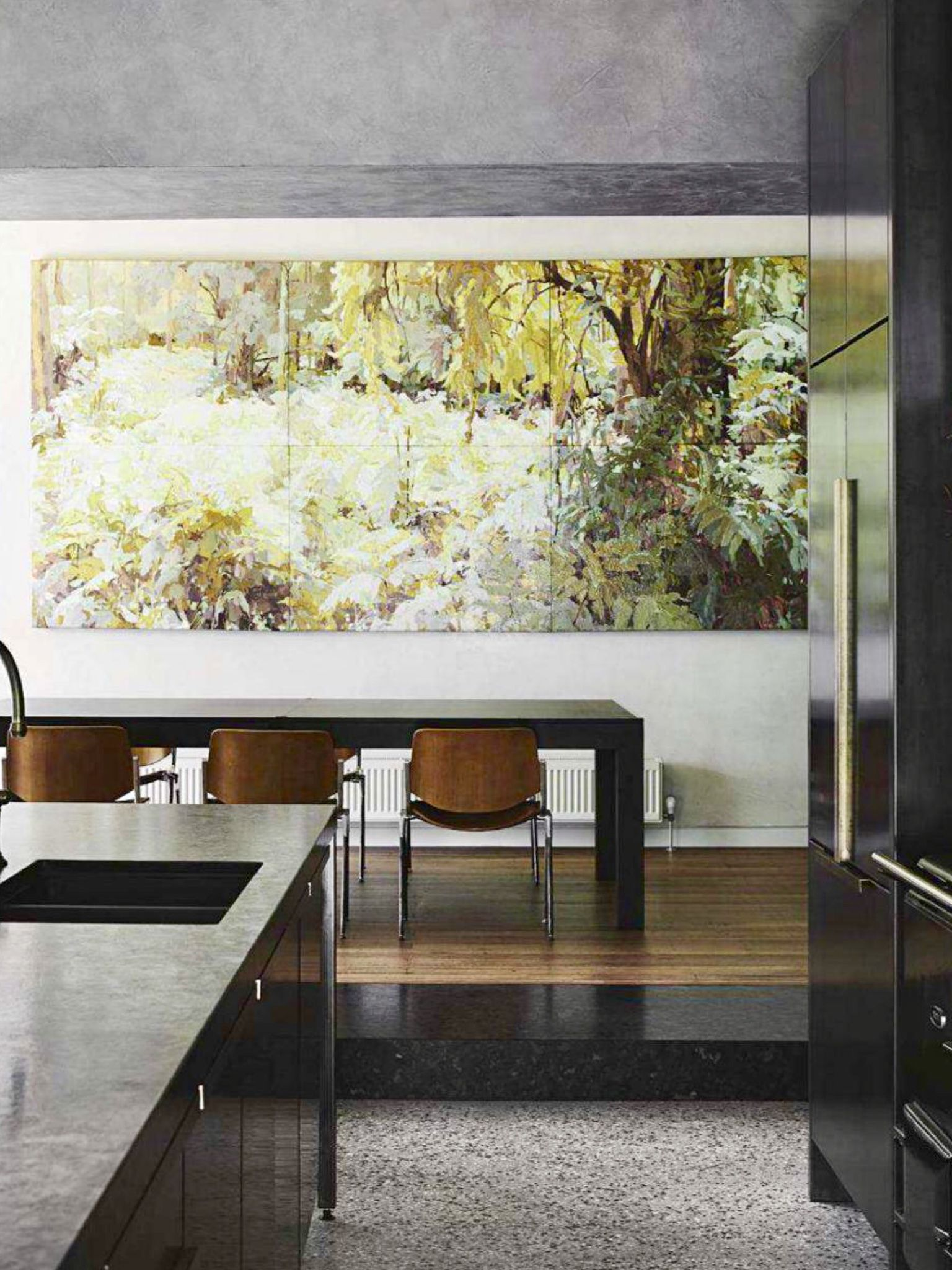 Oversized wall mural adds interest to somber kitchen Dining Room