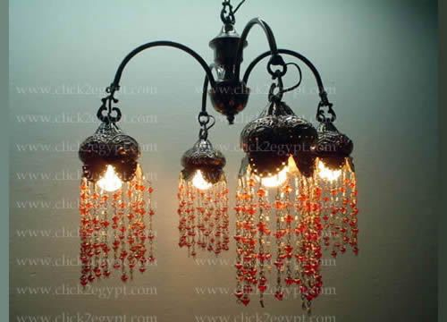 Br43 4 Arms Antique Style Egyptian Beads Br Chandelier In