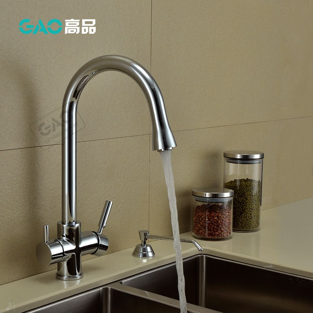 German export GAO Copper Kitchen Faucet hot and cold pure water tank ...