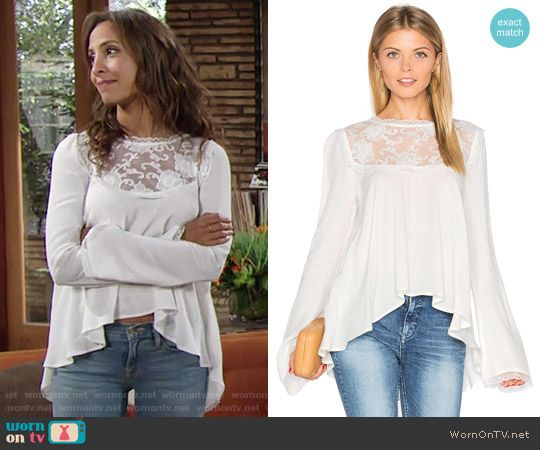 22cba5cc6c4866 Lily s white lace high-low top on The Young and the Restless. Outfit Details