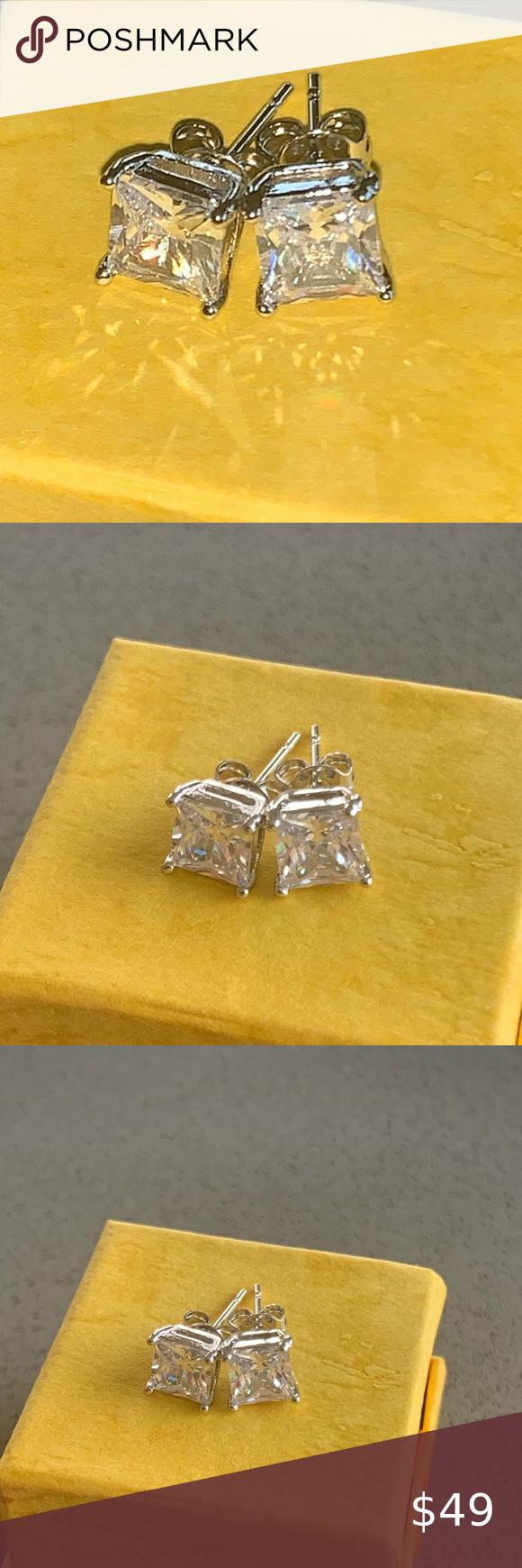 Nordstrom 14K White Gold Sapphire Diamond Earrings Brand new All Saints fashion …