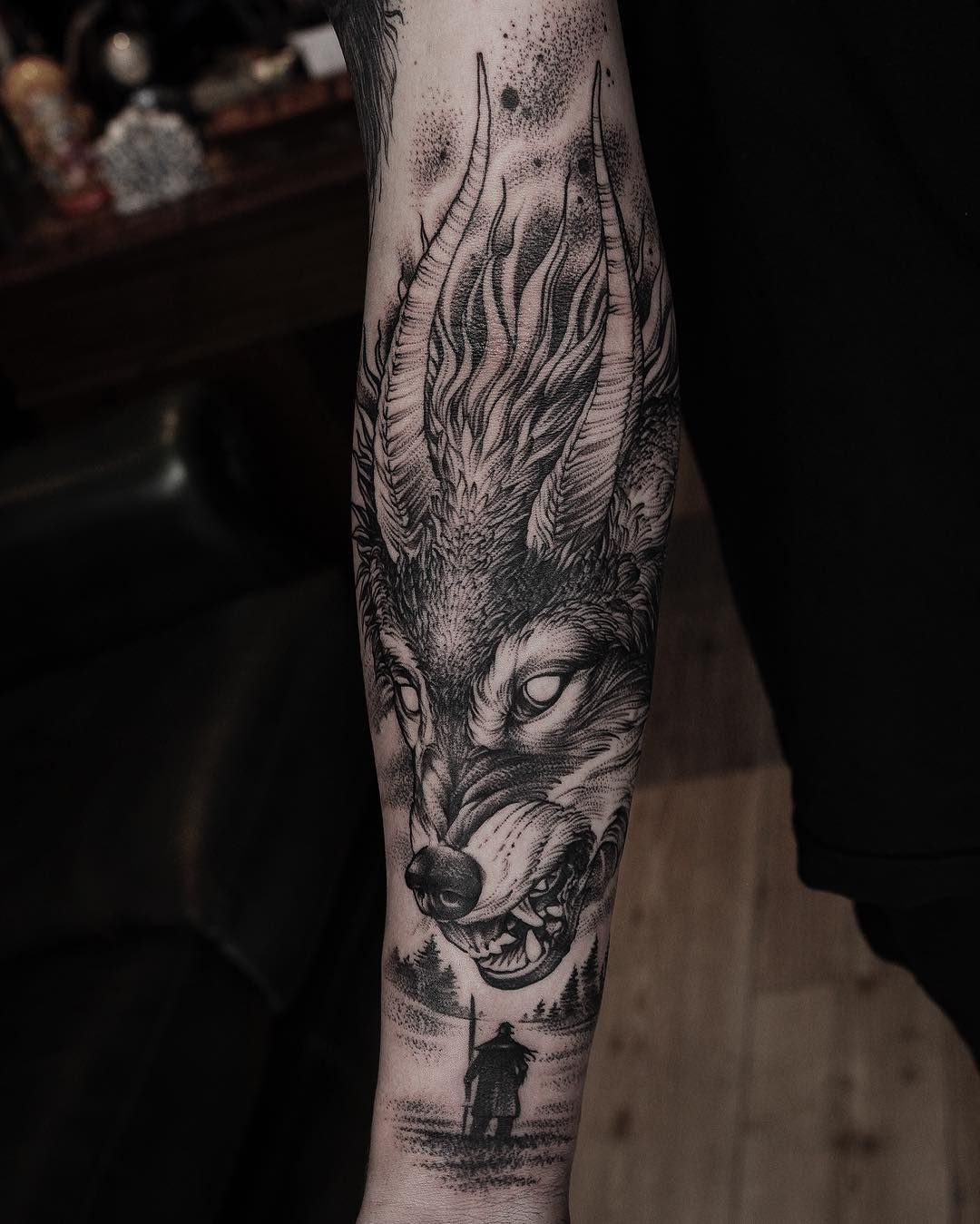 """897fa136d Daniel Baczewski on Instagram: """"Customer wanted a snake so we did a horned  wolf instead (Fenrir from norse mythology) Done at @inkdependenttattoos…"""""""