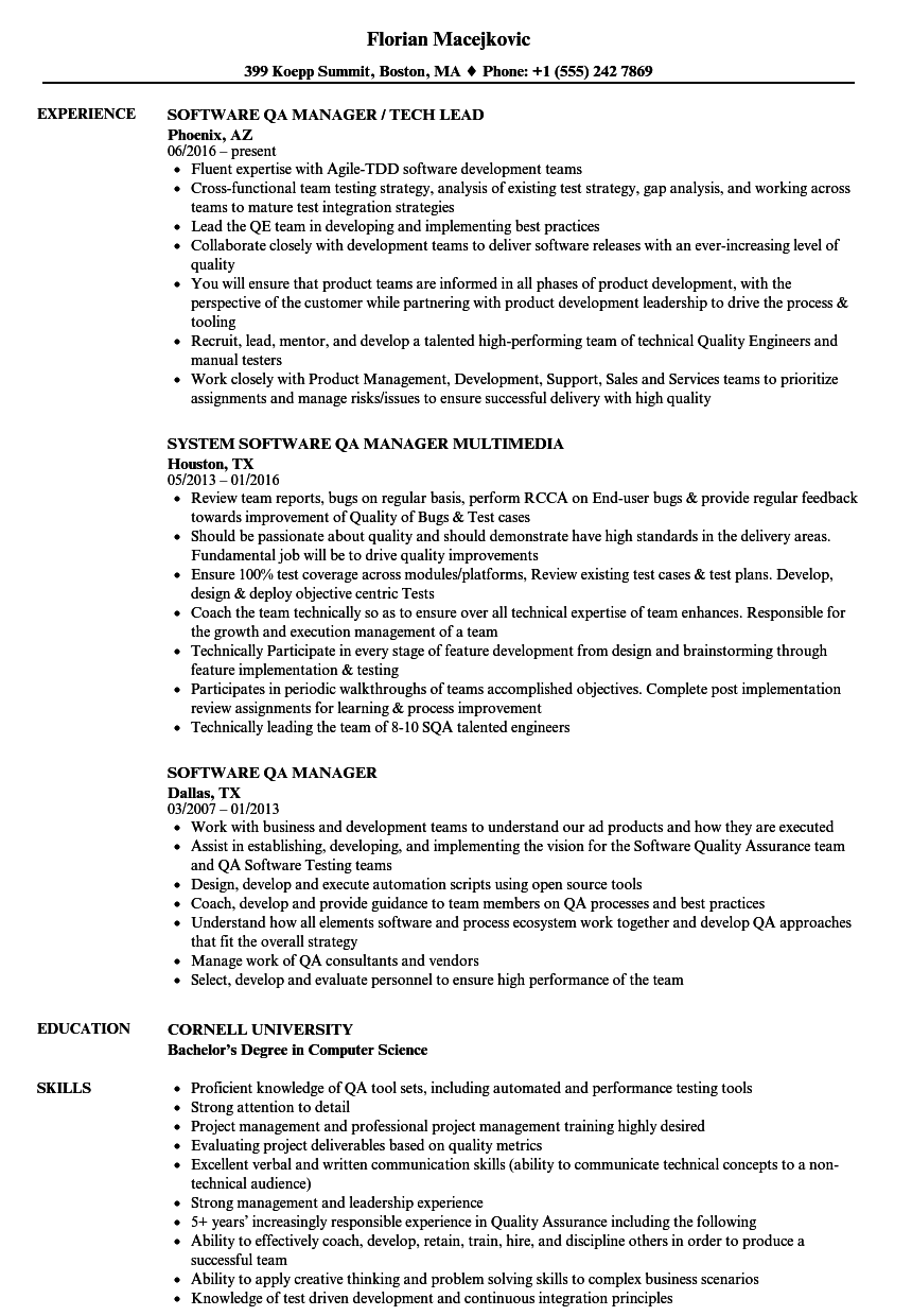 Quality Assurance Manager Project manager resume, Good