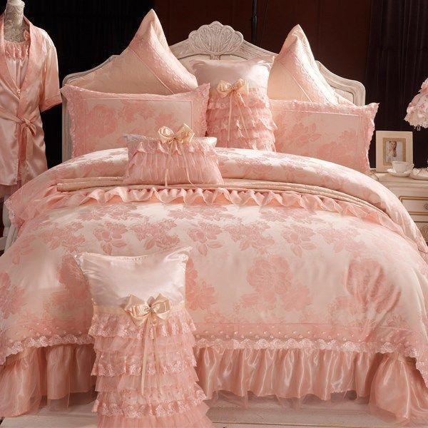 Romantic Lace Ruffled Duvet Cover Set Korean Wedding
