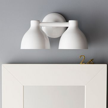 Guest Bathroom Contour Double Sconce #WestElm Powder Coated Steel In Glossy  White Finish.