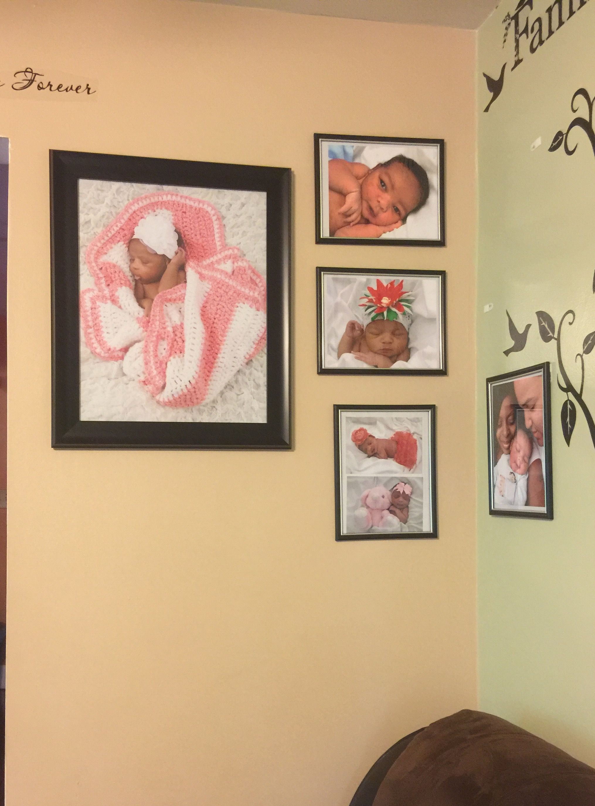 Newborn photography/photo wall using command strips because I have ...
