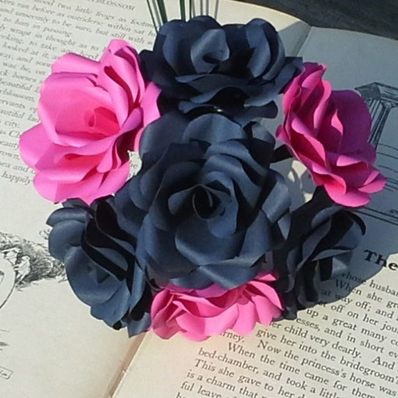 12 X Navy Blue Hot Pink Paper Flowers Handmade Paper Roses