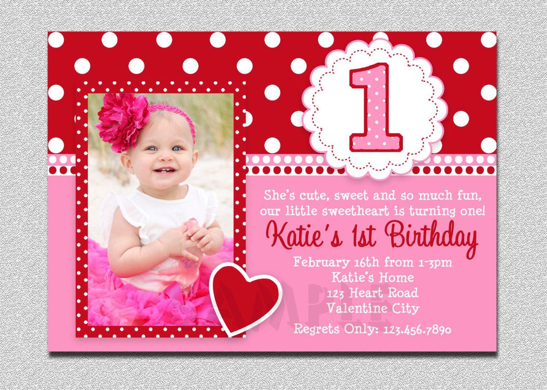 Valentines Birthday Invitation 1st Birthday First Birthday