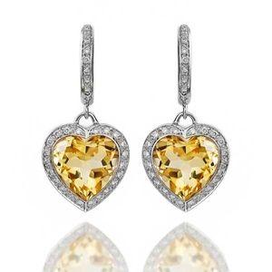 King Jewelers Citrine Heart & Diamond Dangle Earrings C0201148 $2,500.00