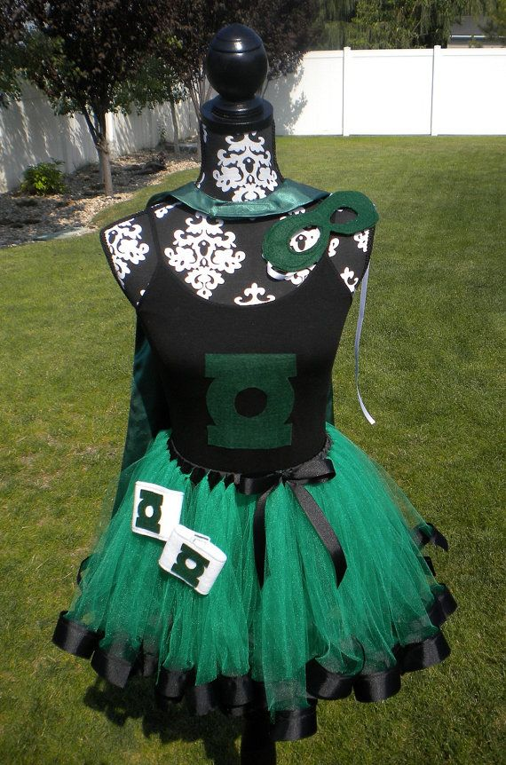 Green Lantern Super Hero Costume Cape Mask by theblackscottie1 - green dress halloween costume ideas