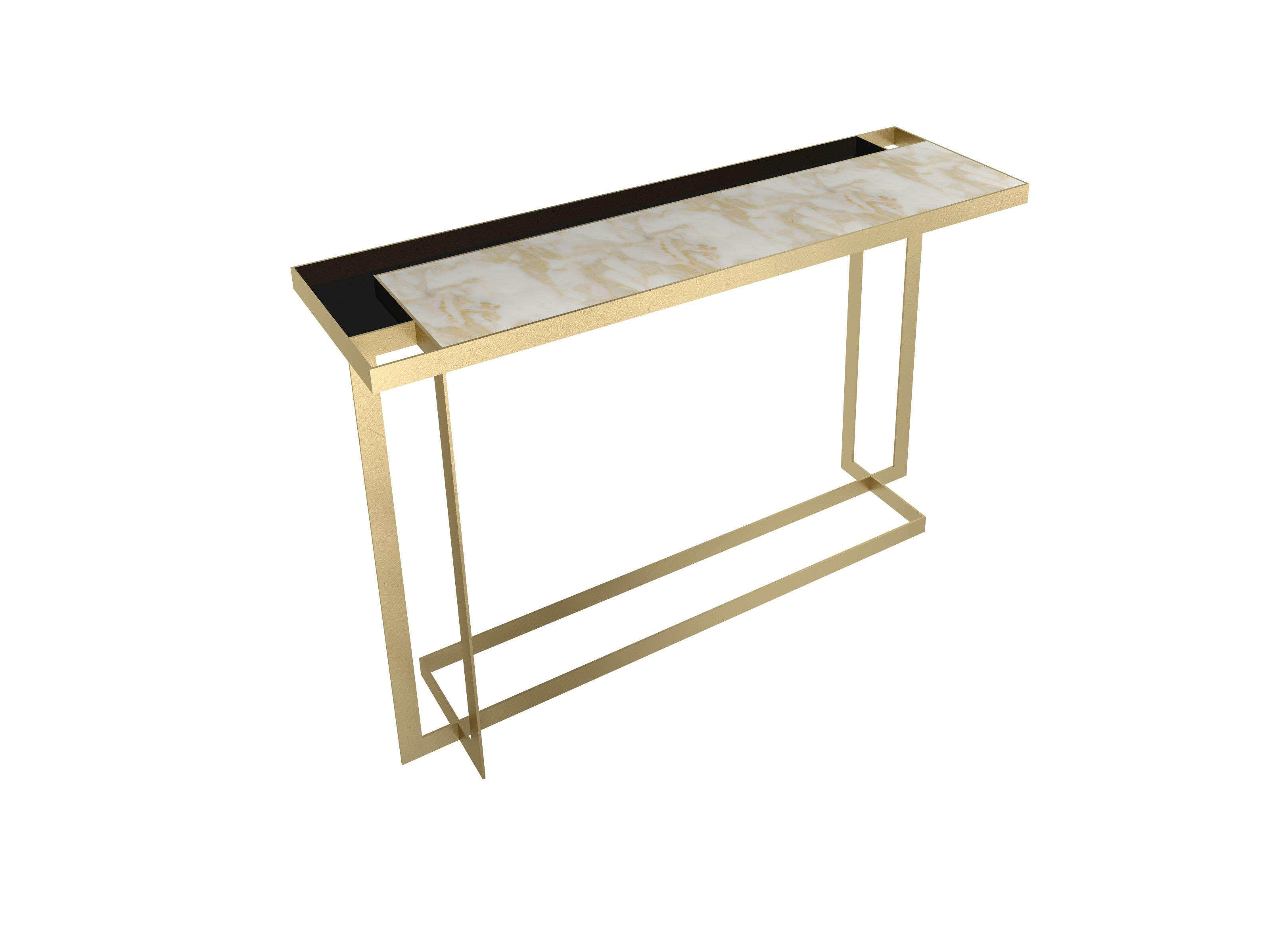 Gary console table in brushed brass with calacatta oro top and gary console table in brushed brass with calacatta oro top and black glass details designed geotapseo Image collections