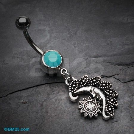Vintage Tribal Sun Moon Belly Button Ring Belly Button Rings