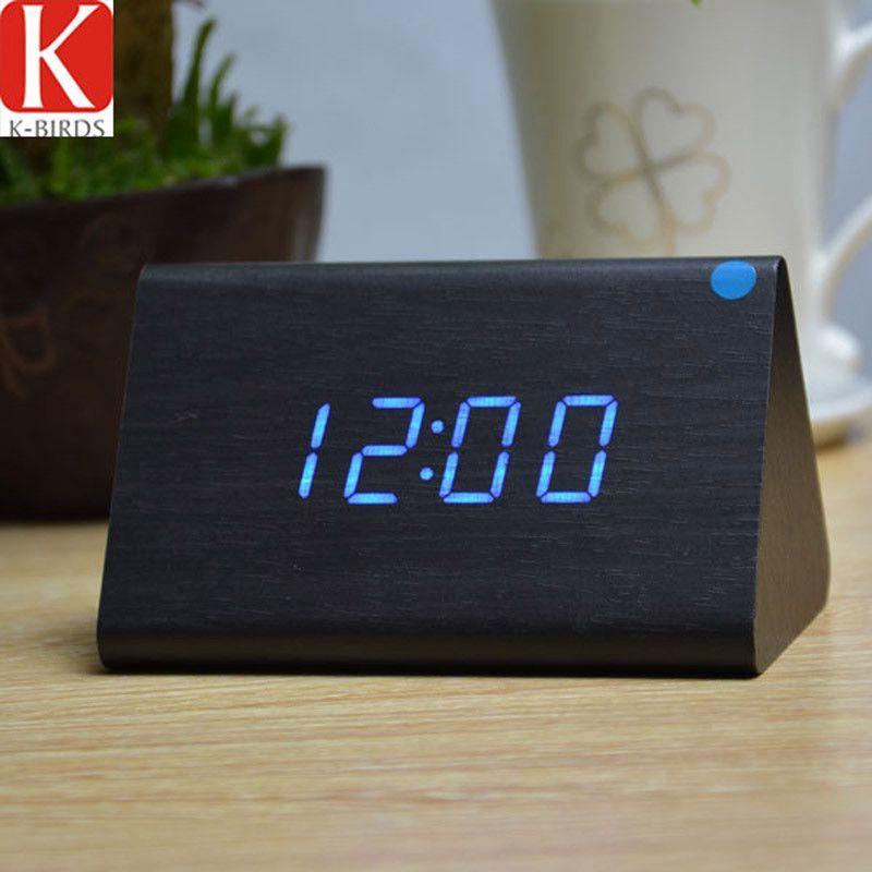 2016 new Temp+date+time Wooden alarm clock Sounds control white led electronic alarm clock Night glowing reloj despertador