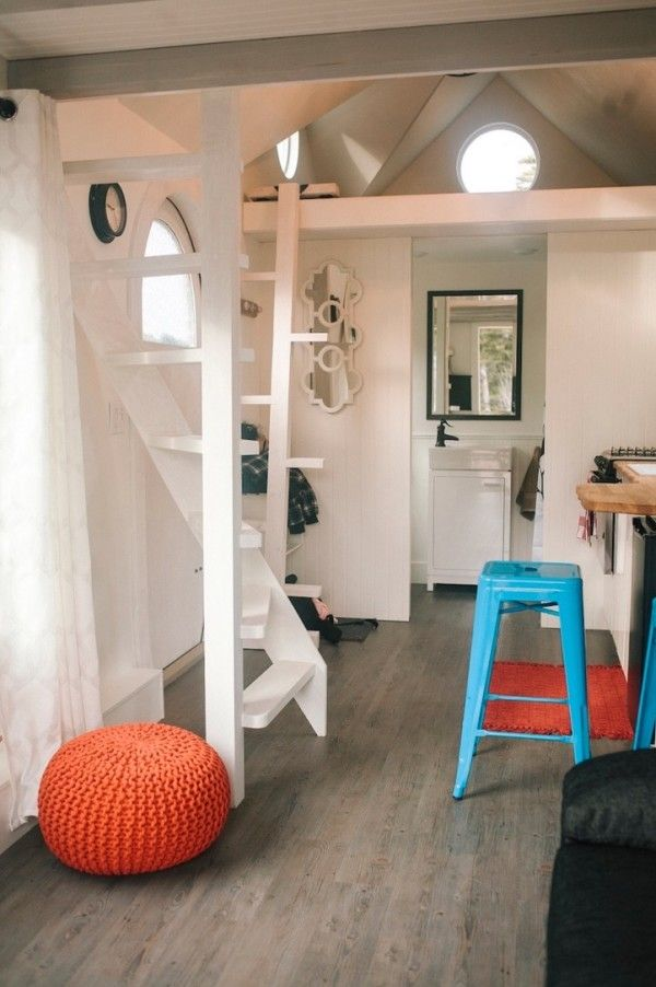 sf esket tiny house on wheels by robert and bettina johnson love the stairs feels whimsical charming also sq ft esk  et with genius loft design rh pinterest