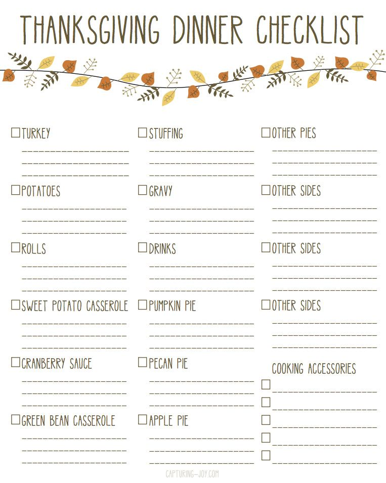 Printable Thanksgiving Dinner Checklist And Recipes Thanksgiving Potluck Thanksgiving Checklist Thanksgiving Dinner
