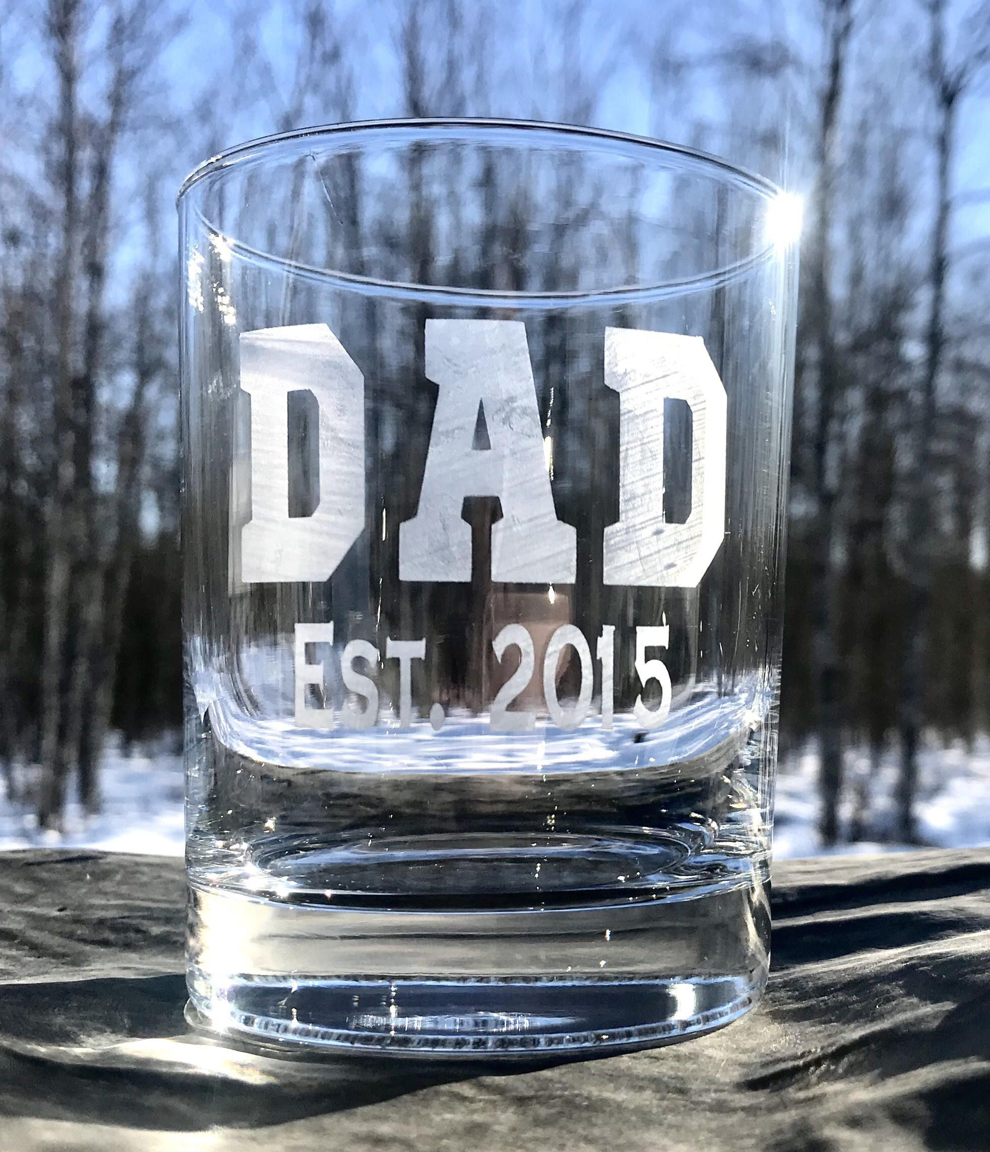 Dad est whiskey glass etched whiskey glass dad gift