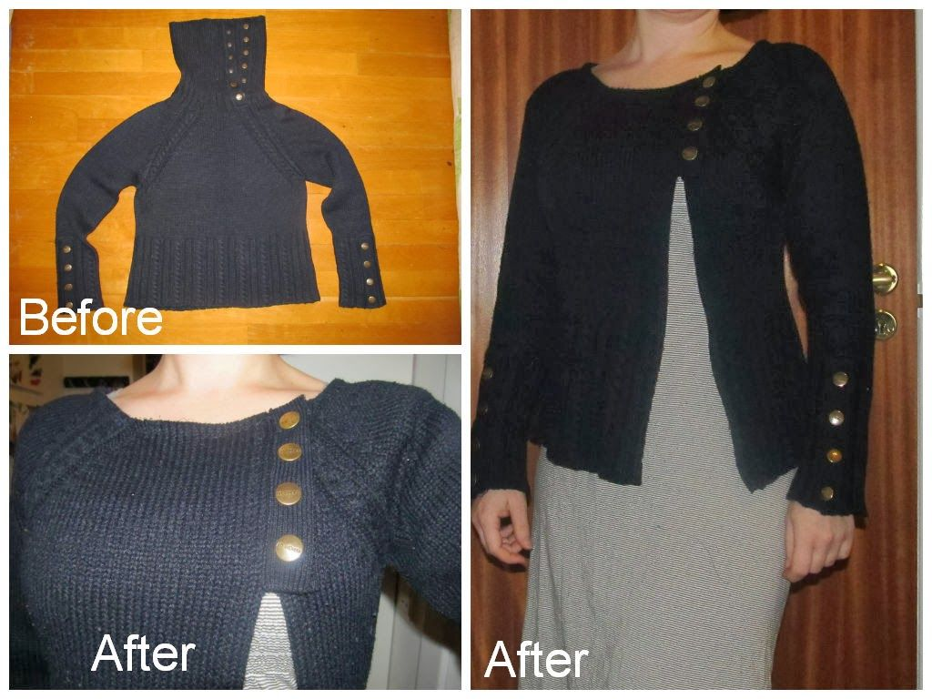 cowl neck sweater to asymmetrical cardigan Refashion upcycle DIY ...