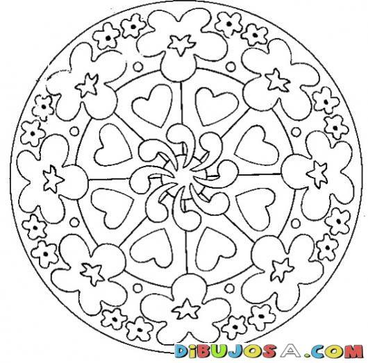 Mandalas Para Colorear Flores Y Corazones Colorear Mandalas Para