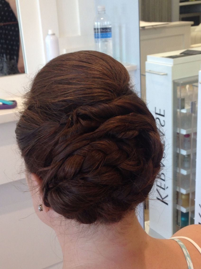 Poof on top braids in back updo