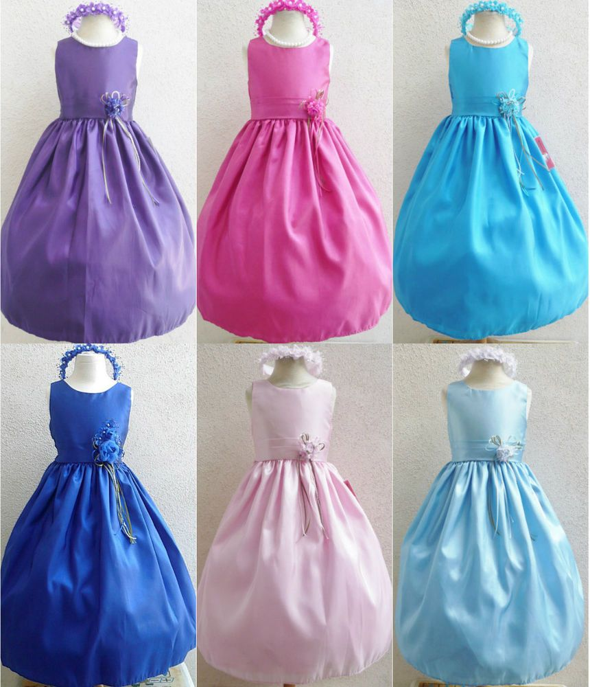 Adorable lilac purple fuchsia turquoise blue taffeta flower girl ...