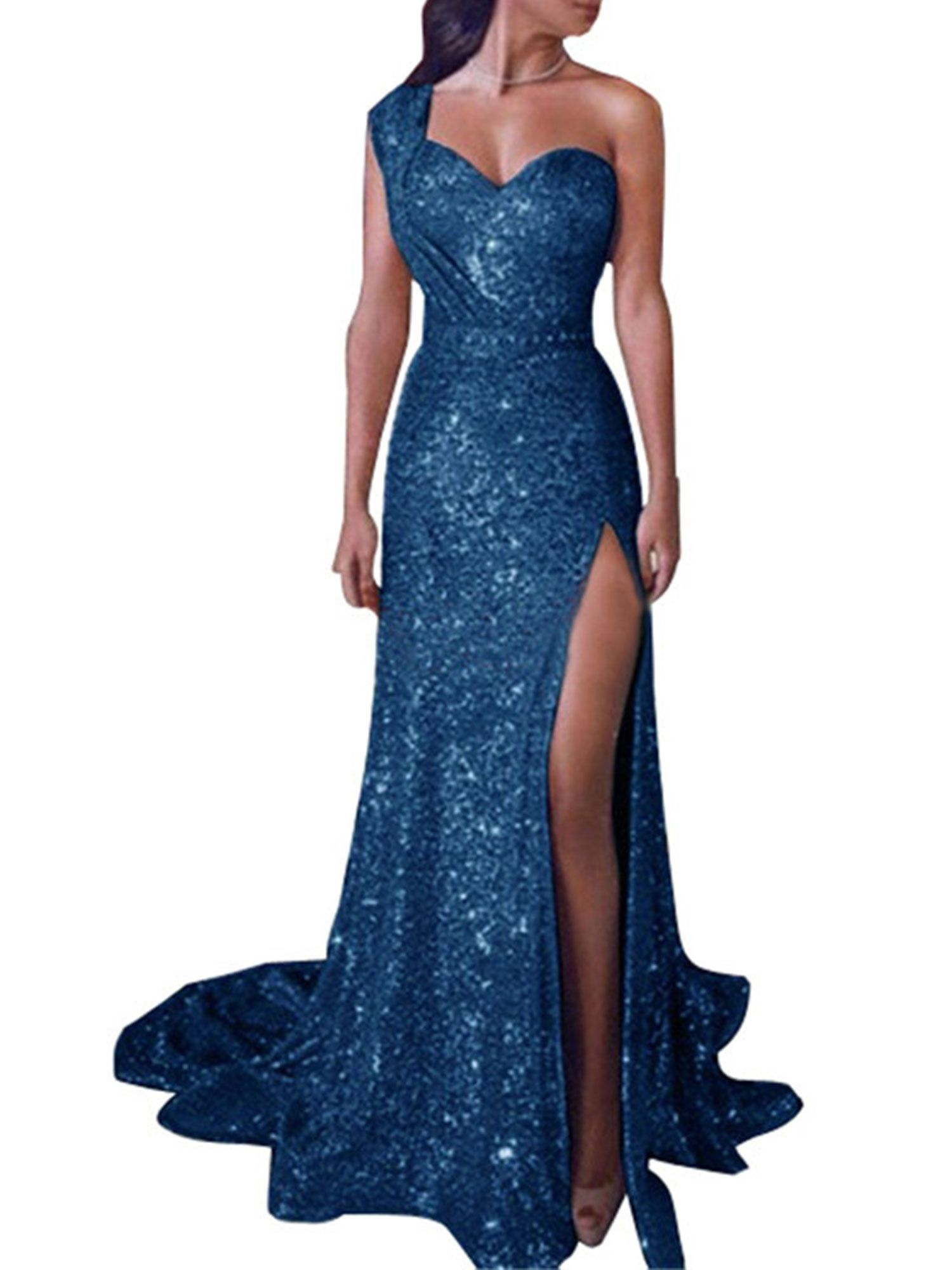 Womens Bodycon Sequin Maxi Long Dress Ladies Plunge V Neck Evening Cocktail Ball