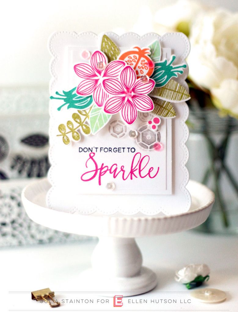 Sparkle Bouquet Card by Julia Stainton featuring Essentials by Ellen from Ellen Hutson LLC