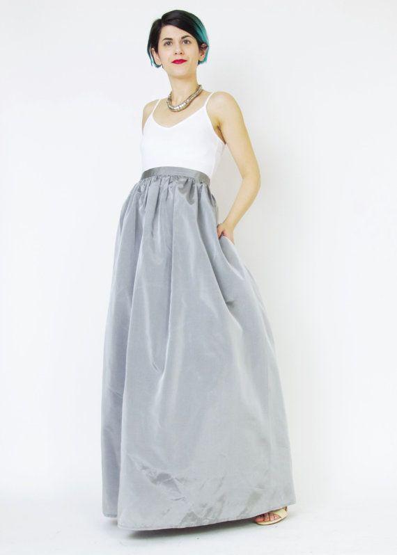 1990s Prom Skirt Silver Maxi Skirt Formal Floor Length Skirt ...