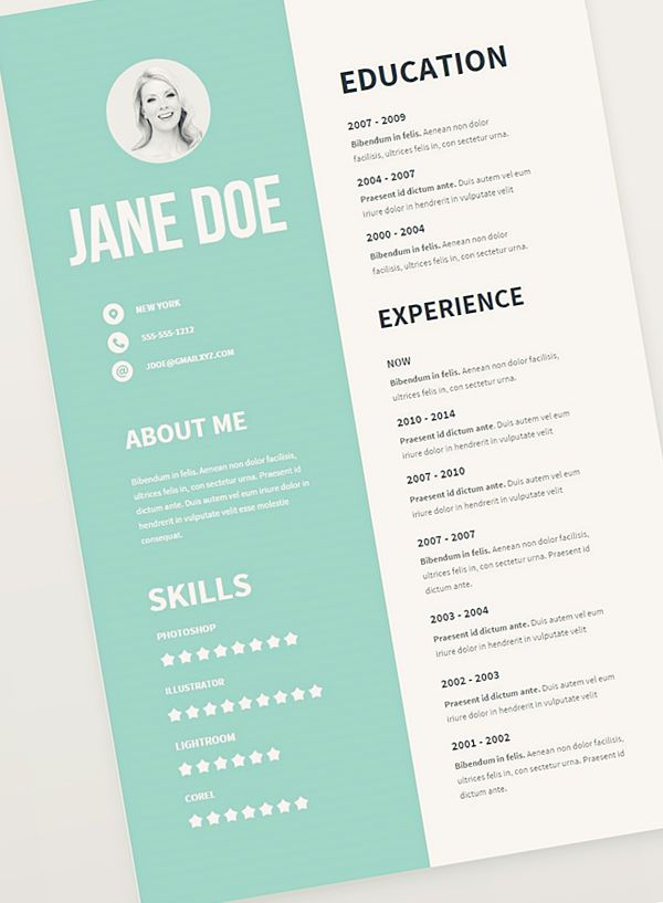 Professional Resume Template, CV Template, Simple Resume, Modern - creative resume templates
