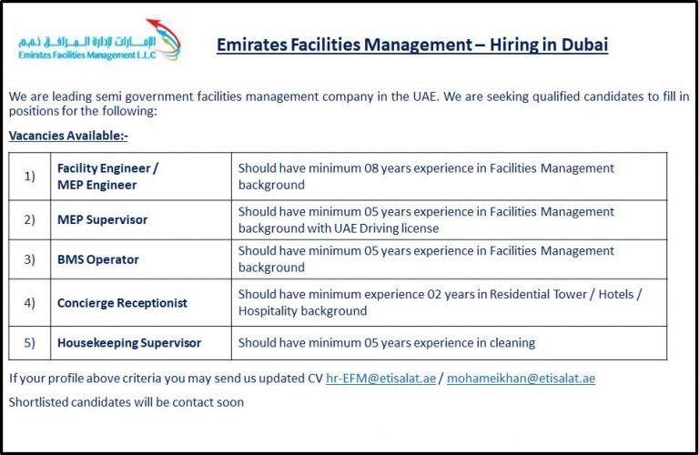 Multiple Openings UAE Management company, Uae, Dubai
