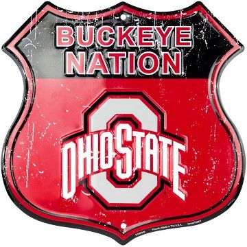 Ohio State Buckeye Nation Embossed Metal Shield Sign #ohiostatebuckeyes