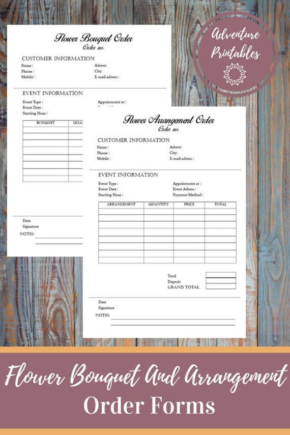 Flower Bouquet And Flower Arrangement Order Forms, Wedding Flower - event order form