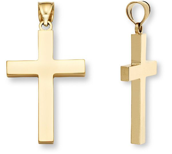 ApplesofGoldcom Mens 14K Gold Polished Cross Pendant Jewelry