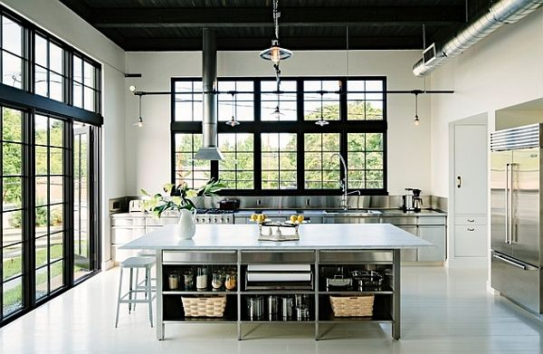 Exquisite kitchen with custom stainless cabinetry