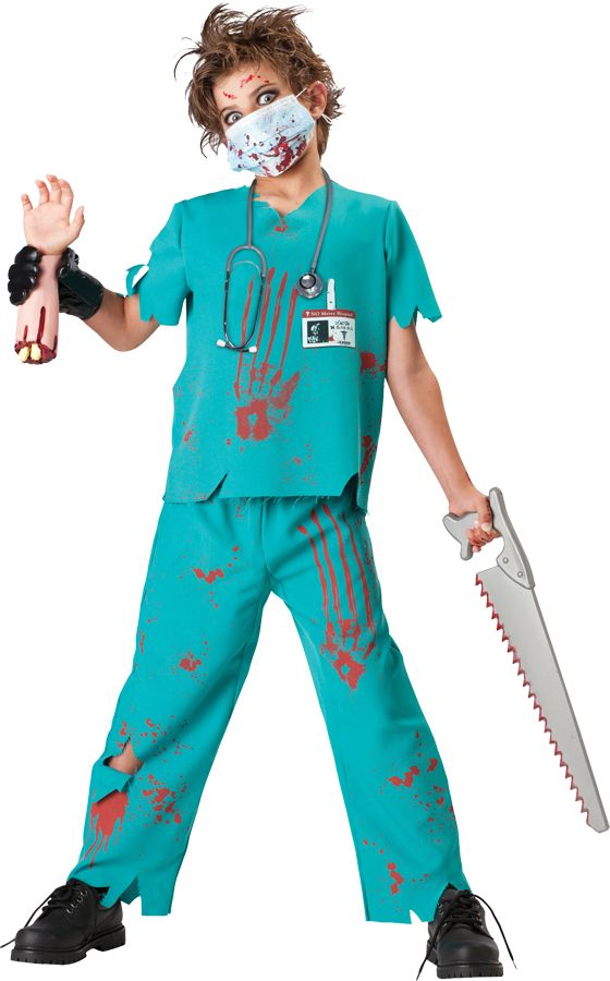 Childrens Boys Zombie Doctor Halloween Costume Fancy Dress Outfit 8-10 Years