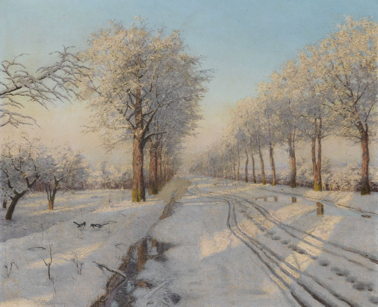 """Boris Vasilievich Bessonov (1862-1934) - Winter sunset, oil on canvas, 54.5 x 65 cm. """