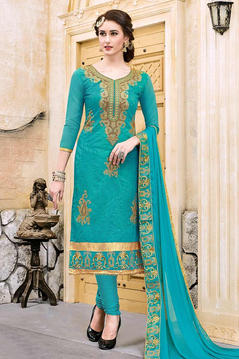 Blue Modal Cotton Churidar Suit   Churidar suits, Churidar and Suit ...