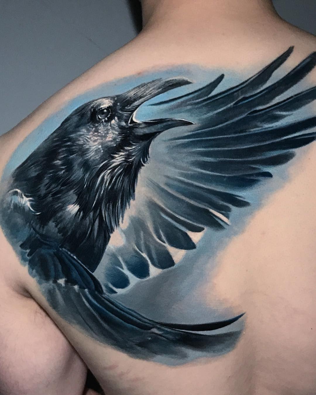 Crow Tattoo Artist Boris Studio Boristattoo Intenze Ink Animal Tattoos Crow Tattoo