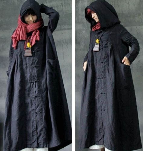 5a9d320fb0 T218-Manual-Button-Witch-Cap-100-Cotton-Womens-Long-Hooded -Jackets-Arab-Kaftan