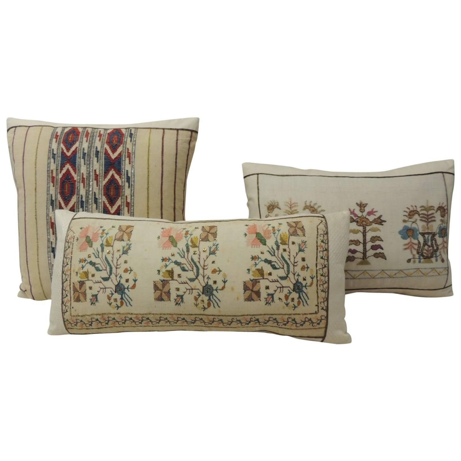 19th Century Turkish Embroidered Linen Pillows | From a unique collection of antique and modern pillows and throws at https://www.1stdibs.com/furniture/more-furniture-collectibles/pillows-throws/