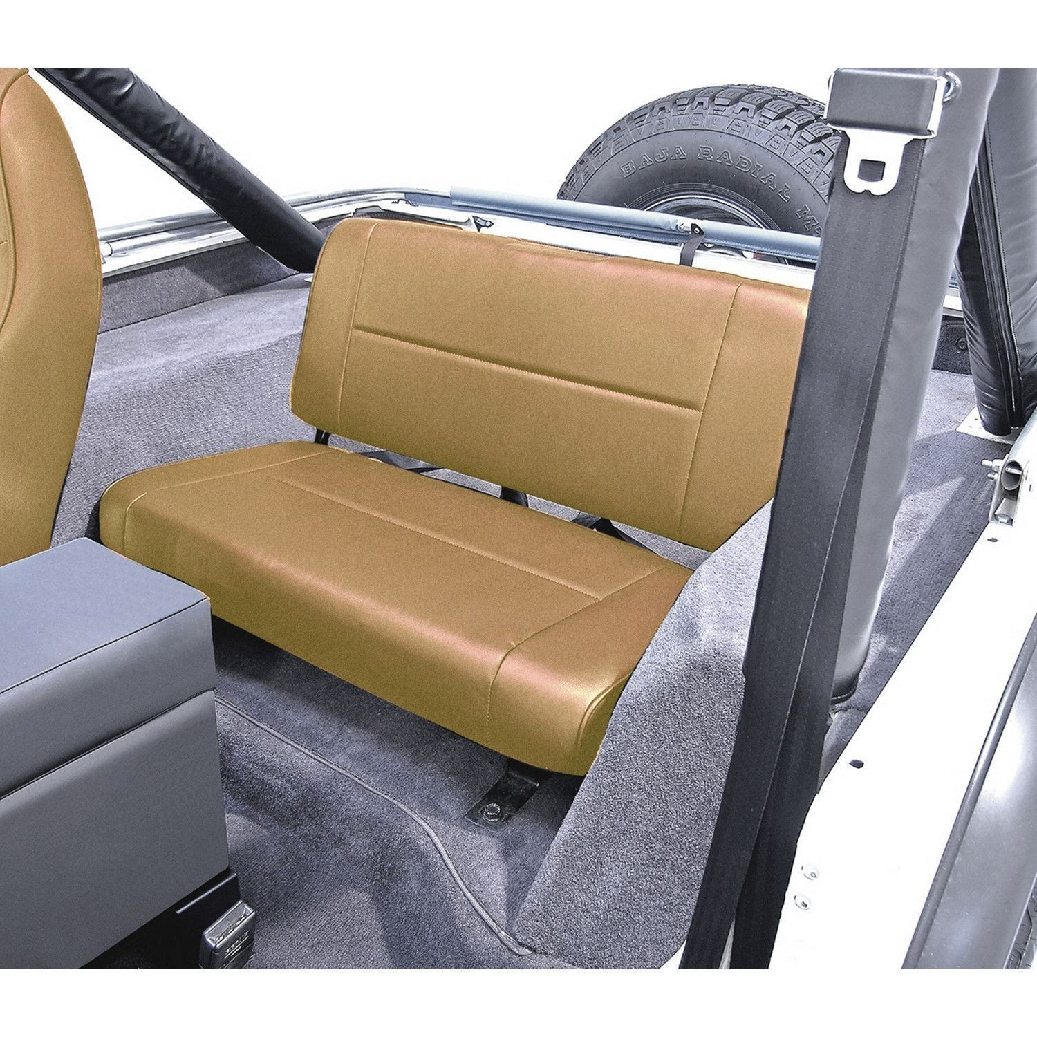 Fixed Rear Seat, Tan; 55-95 Jeep CJ/Wrangler YJ