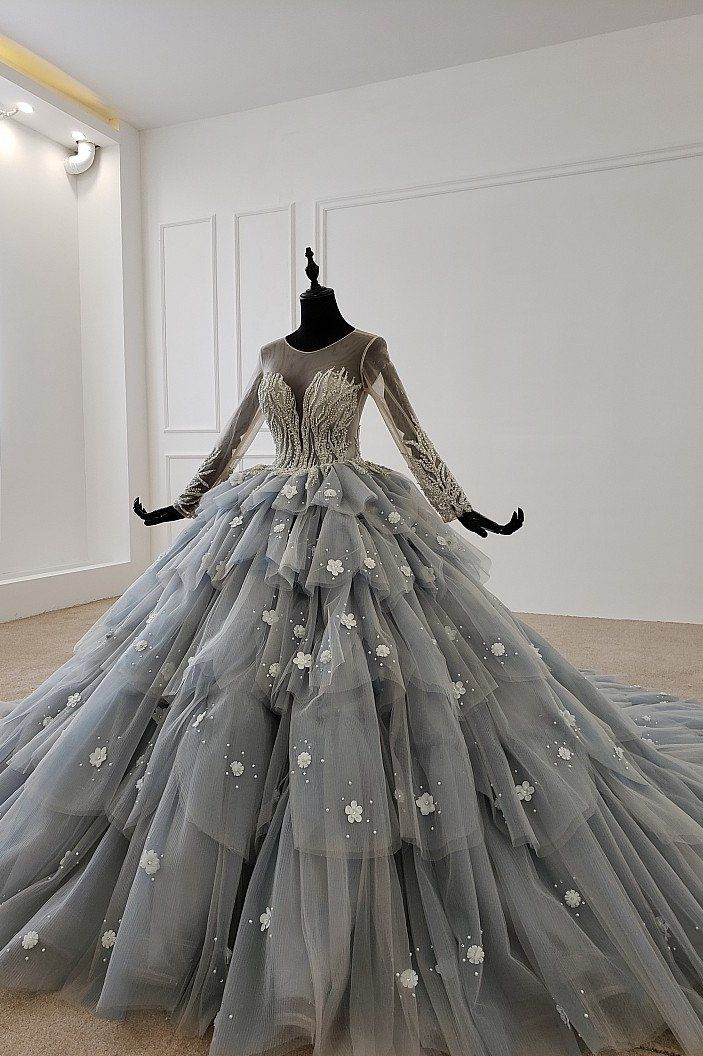 Grey Wedding Gowns Sequins O Neck Lace Wedding Dress Os99258 Ostty Fantasy Gowns Grey Wedding Dress Masquerade Gown