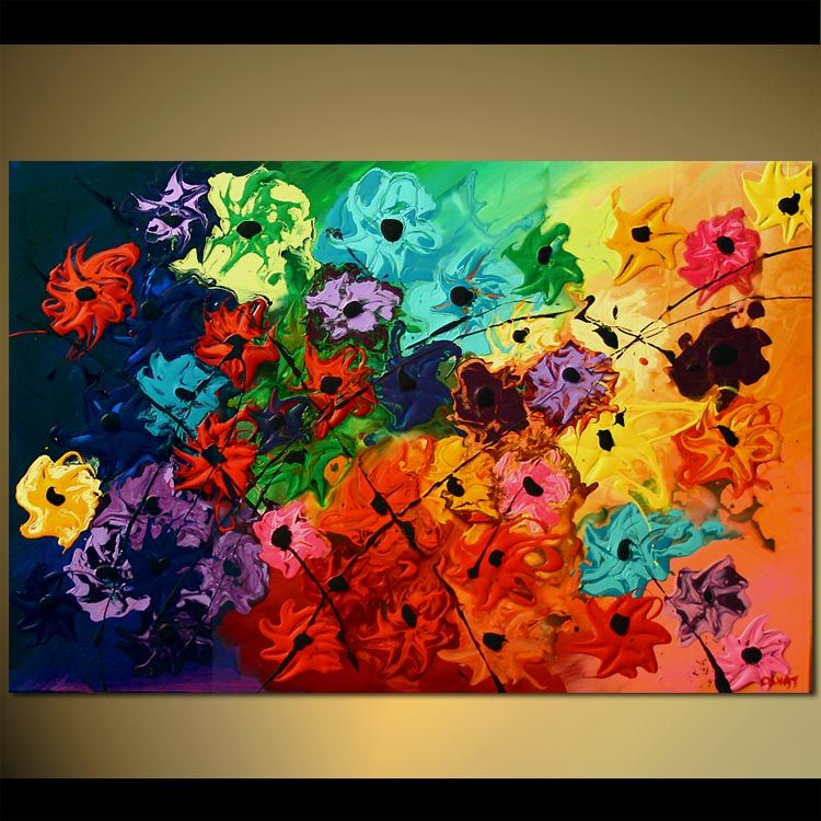 Items Similar To Colorful Acrylic Abstract Floral Painting Blossom Textured By Osnat