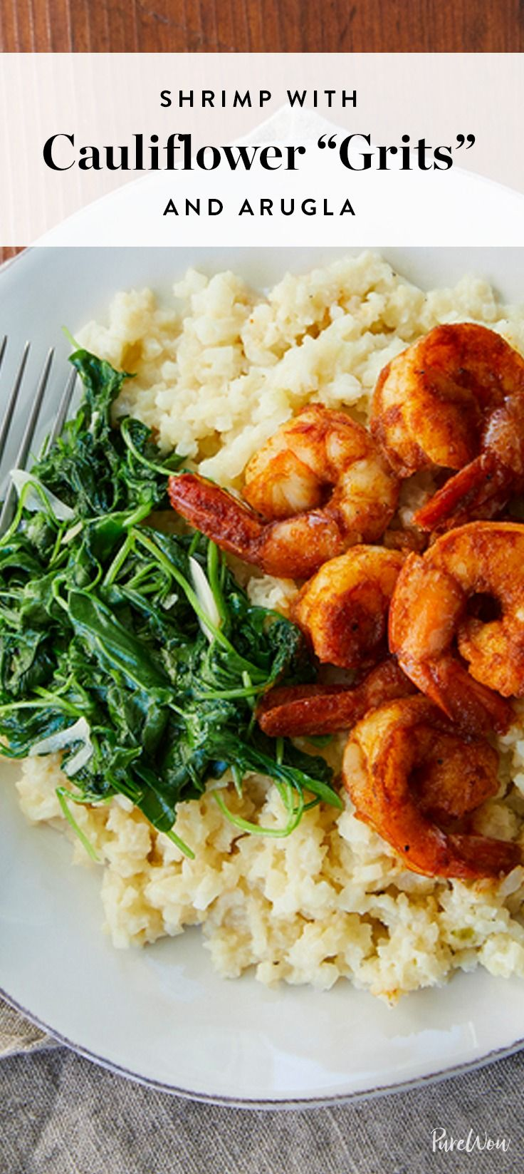 """Presenting Shrimp With Cauliflower €�grits"""" With Arugula With This Healthy  Swap, You"""