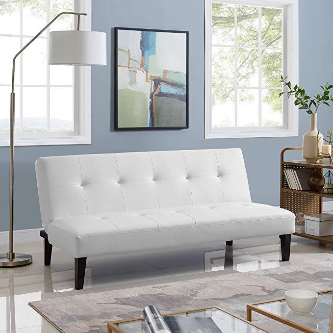 Amazon Com Naomi Home Button Tufted Futon Sofa Bed White Gateway Futon Sofa Futon Sofa Bed Couch Alternatives