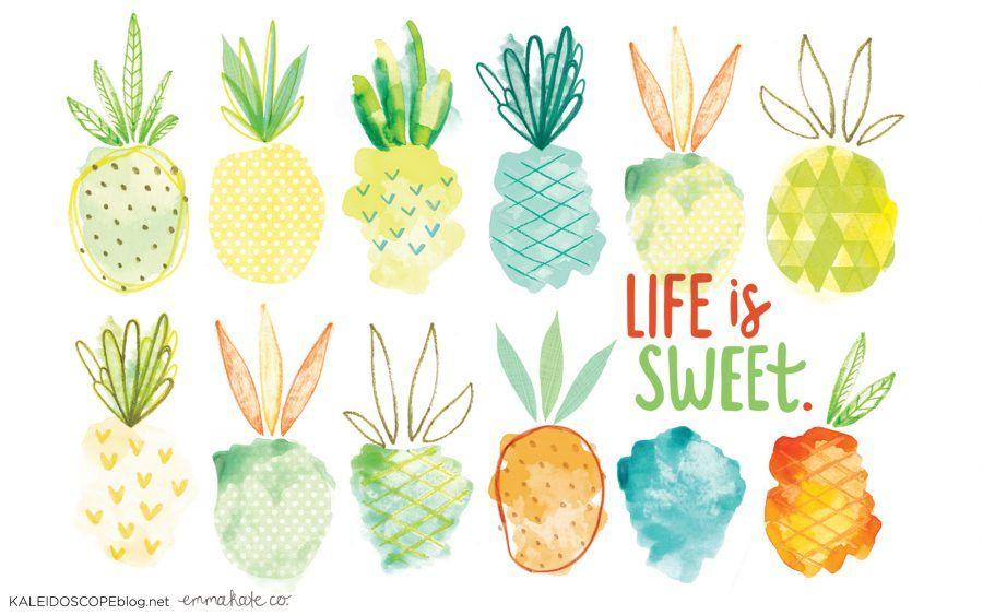 Life Is Sweet Pineapple Wallpaper Design Kaleidoscope Pineapple Wallpaper Watercolor Desktop Wallpaper Fruit Wallpaper