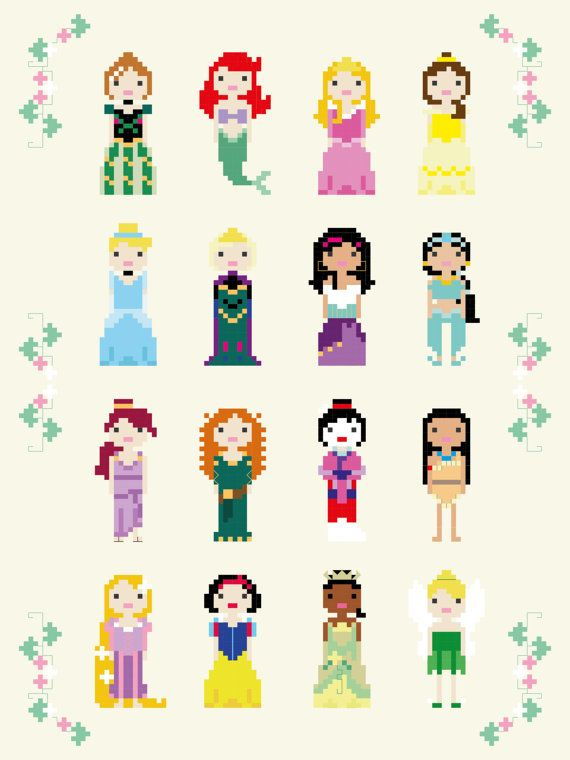 UPDATED 2018 - Disney Princess Cross Stitch Pixel Sampler - PDF Pattern #stitchdisney