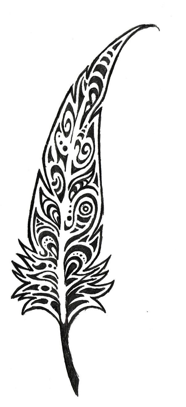 Nice tribal feather tattoo